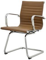 Cadeira Sevilha Eames Fixa Cromada PU Marrom Escuro - 38230 - Sun House