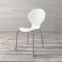 Cadeira Shell de Madeira e Aço Cromado Branca - ETNA