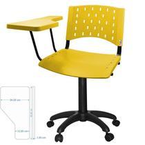 Cadeira universitária giratória fixa com prancheta rebatível plástica amarela - Ultra Móveis