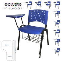 Cadeira Universitária Plástica Azul Com Porta Livros 10 Unidades Prancheta Plástica - ULTRA Móveis -
