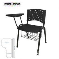 Cadeira Universitária Plástica Preta Com Porta Livros Prancheta Plástica - ULTRA Móveis -