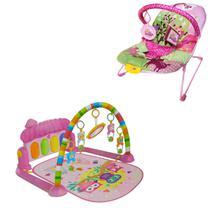 Cadeirinha Balanço Descanso E Tapete De Atividades Musical Piano Rosa - Color Baby