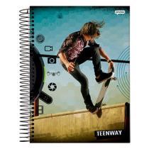 Caderno Teen Way - Azul - 1 Matéria - Jandaia -