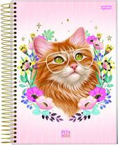 Caderno Universitário Gato Gatinho 10 Matérias 160 Folhas Capa Dura Com Espiral Volta Ás Aulas Jandaia -
