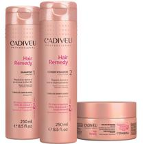 Cadiveu Hair Remedy Kit Trio Home Care Shampoo 250ml Condicionador 250ml Máscara 200g - P - Cadiveu Professional