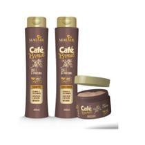 Café brasil kit vegano shampoo condicionador máscara mahair -
