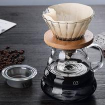 Cafeteira em Vidro Passador de Café 700ml Com Coador Vidro e Madeira - Mimos e Viagens
