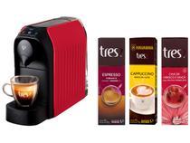 Cafeteira Espresso TRES Passione + Cápsula de Café - Espresso + Cappuccino Doce de Leite + Chá Hibisco