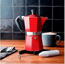 Cafeteira Italiana em Alumínio 6 Xícaras Vermelha Mimo Style -