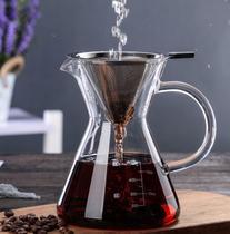 Cafeteira jarra passador de café em vidro com alça e filtro inox 500ml - Mimos e Viagens