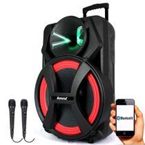 Caixa Amplificada Amvox ACA 900 X Dezoitão - 900w Bluetooth, 2 Microfones Com Fio -