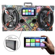 Caixa Amplificada Bluetooth 6x9 Bomber Multimidia - Neon -