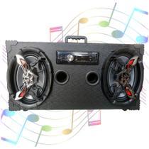 Caixa Amplificada Bluetooth UBS 6x9 Bomber Rádio - Preta -