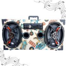 Caixa Amplificada Bluetooth UBS 6x9 Bomber Rádio - Retrô -