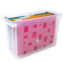 Caixa Arquivo Transparente Com 6 Pastas Suspensas Coloridas Dellocolor Organizador De Escritório -