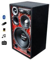 "Caixa Ativa Modulo Taramps 800x4 Radio Usb Bluetooth - Falante 12"" 7driver + Mid Falante 6"" 7driver -"