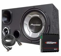 Caixa Automotiva Trio 12 Sub Pioneer + Módulo Soundigital -