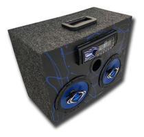 Caixa bob ativa mp3 bt usb cm6 hurricane preta e azul residencial - Like Parts