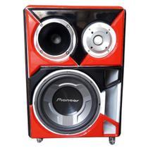 Caixa Bob Residencial Trio Som Pioneer Bluetooth red -