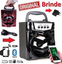 Caixa Caixinha de Som Portátil Bluetooth Celular Universal Mp3 Rádio Fm Entrada Cartão Sd Pen Drive Usb Festa Natal - Leffa Shop