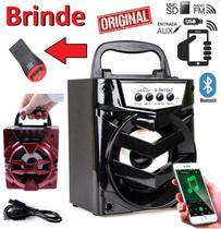 Caixa Caixinha de Som Portátil Bluetooth Celular Universal Sem Fio Mp3 Rádio Fm Usb + Adaptador Para Cartão Micro Sd - Leffa Shop