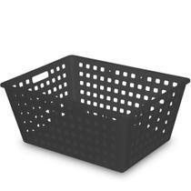 Caixa (Cesta) Organizadora Squares 13L 38x29x16,5cm Preto Ref. 8240 Arthi -