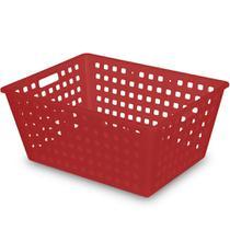 Caixa (Cesta) Organizadora Squares 13L 38x29x16,5cm Vermelho Ref. 8246 Arthi -
