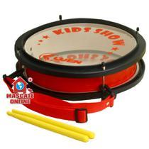 Caixa clara / de guerra infantil PVC Vermelha Luen Instrumento Musical Percussão Tarol -