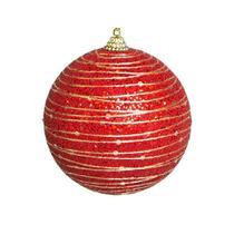 Caixa com 3 Bolas Natalinas Luxo Vermelha 8cm Linha Natal Encantado - Tok Da Casa