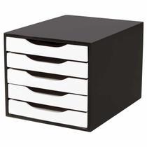 Caixa de Arquivo com 5 Gavetas Souza - Preto e Branco -