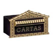 Caixa de Correio Pvc Preto e Dourado 25cm Frente Real Caixas -