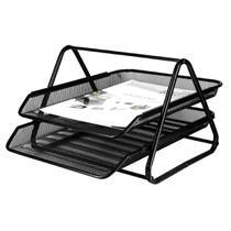 Caixa de Correspondência, Organizador de Mesa, Dupla, Metal, Preta - Sutt
