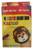 Caixa de Lápis de Cor Sextavados 36 Cores Zoo - Kaz
