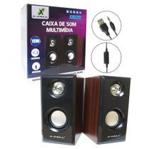 Caixa De Som 2.0 10w Madeira Usb + P2 Pc E Notebook Xc-cm-14 - X-Cell