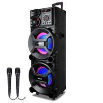 Caixa de Som Amplificada Amvox ACA 1001 New X 1000w Bluetooth, Equalizador, 2 Microfones com fio -