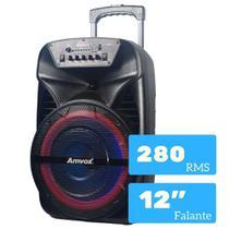 Caixa de Som Amplificada Amvox ACA 280 Black 280w Bluetooth, USB, Radio FM, Micro SD, Bateria Interna -