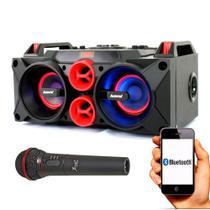 Caixa de Som Amplificada Amvox ACA 768 150w Microfone Bateria FM -