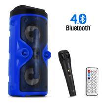 Caixa De Som Amplificada Bluetooth Pendrive FM Com Microfone Karaoke Portátil e Controle - DS13 - Grasep
