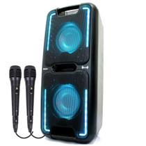 Caixa de Som Amplificada Philco PCX5501N Effects 250w 2 Microfones com fio Bluetooth USB Radio FM -