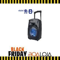 Caixa de Som Amplificada Portátil C/ Rodinhas Bluetooth 100W FM USB Mic Bivolt - Vicini