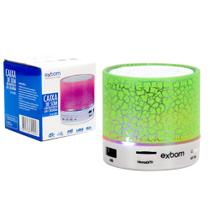 Caixa De Som Bluetooth 3.0 Com Led Sd Card P2 Usb Verde Cs-A12Bt - Exbom
