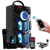 Caixa De Som Bluetooth Amplificada Recarregável + Microfone - Infokit