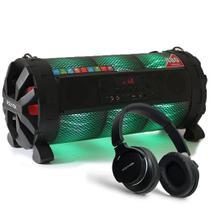 Caixa de som Bluetooth Bazuka XB860 Polyvox 480wRadio FM LED + Fone de Ouvido Bluetooth Polyvox -