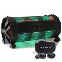 Caixa de som Bluetooth Bazuka XB860 Polyvox 480wRadio FM LED + Fone de Ouvido TWS Bluetooth -