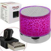 Caixa De Som Bluetooth Led Com Sd Card Usb Rosa - Exbom