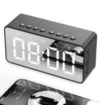 Caixa de som Bluetooth Vermelha com visor espelho Relogio e Despertador BT-506F AEC - Não Tem Marca
