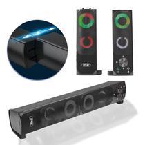 Caixa De Som Com Luzes Coloridas Soundbar Gamer Pc Notebook - Knup