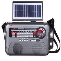 Caixa de som com placa de energia solar com lanterna e bluetooth am fm pen drive emergencial recarregavel - MAKEDA
