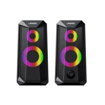 Caixa de som gamer led rgb stereo usb/p2 - lehmox gt-s4 -