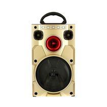 Caixa De Som Móvel Bluetooth Amadeirada Com Luz De LED - Dourada - RAD-1059 - Inova -